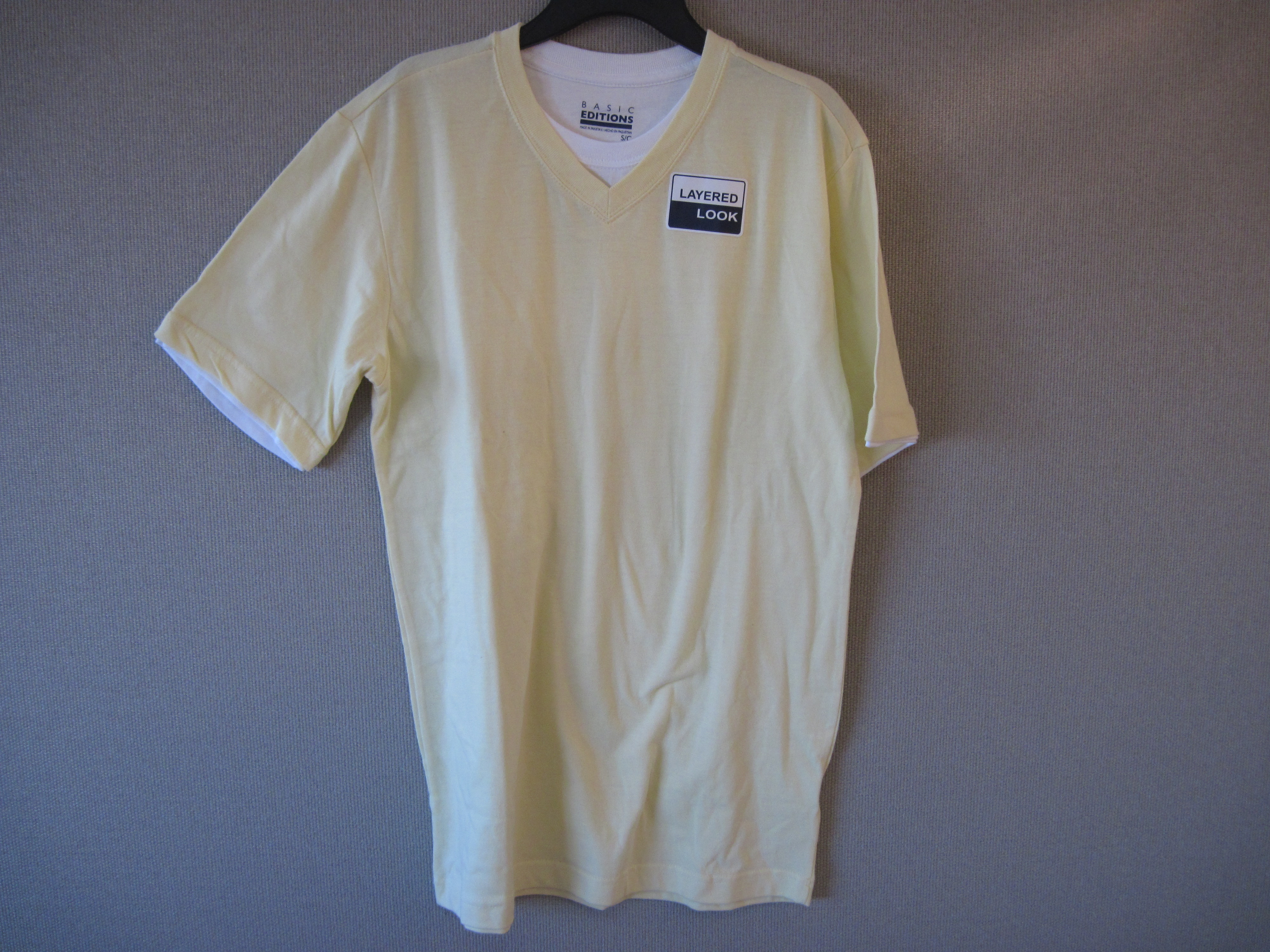 Basic Editions Sz Small Short Sleeve T-Shirt (yellow,layered)