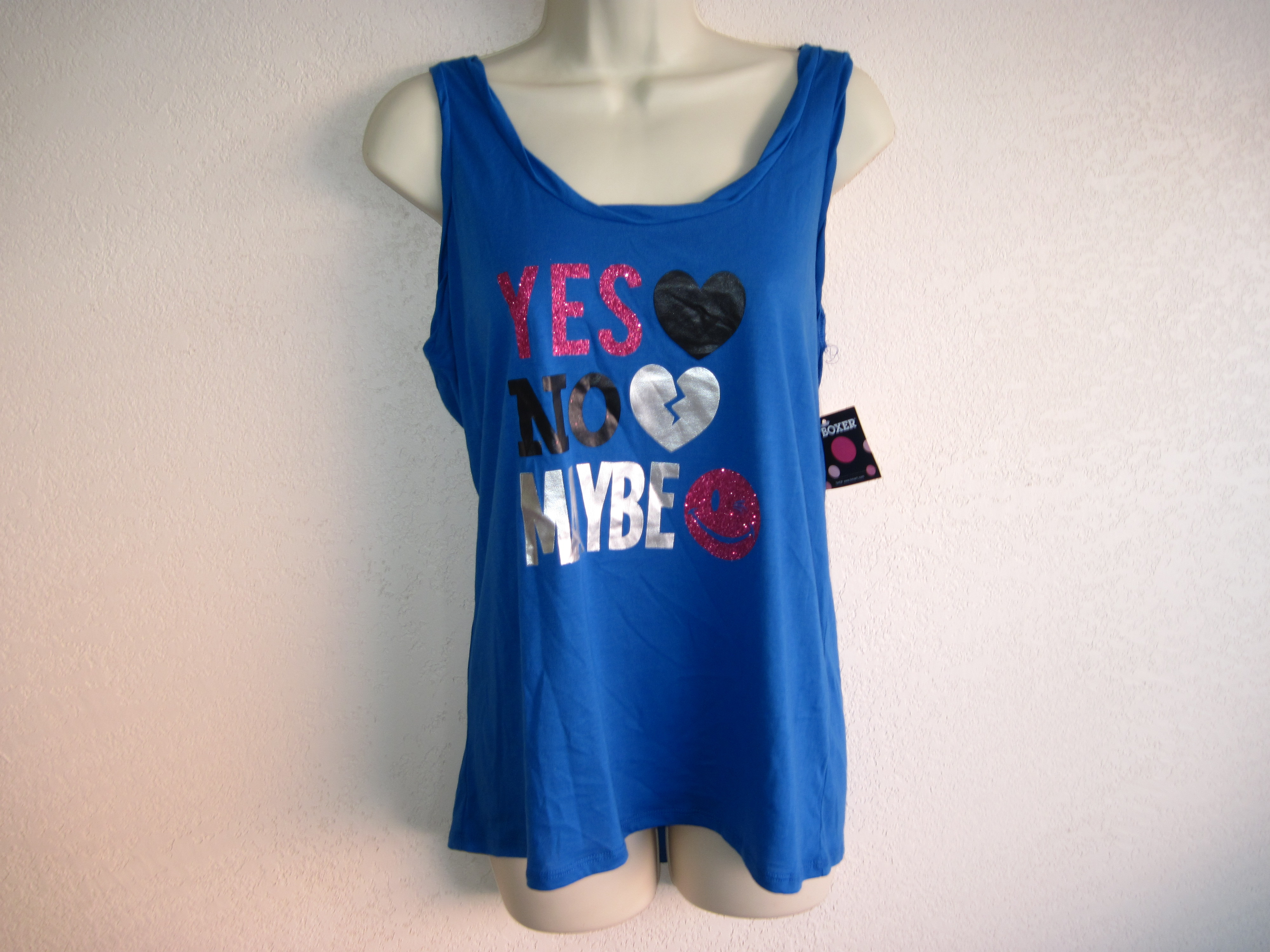 Joe Boxer Sz M Tank Top Yes No Maybe on front Blue